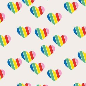 Rainbow love hearts confetti pride gay on off white