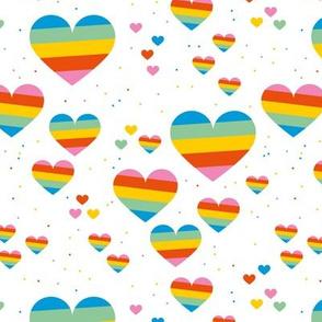 Rainbow love planets hearts confetti pride gay universe on white