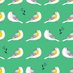 Lined birds - green