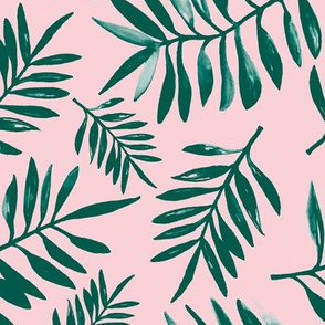 Tropical watercolor palm leaves garden summer boho love nursery green pink