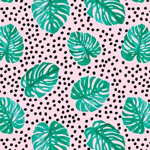 Tropical monstera leaves jungle garden boho summer nursery green pink and black dots