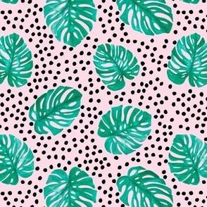 Tropical monstera leaves jungle garden boho summer nursery green pink and black dots