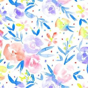 Spring in wonderland - pastel watercolor flowers for modern nursery