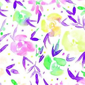 Amethyst spring in wonderland - watercolor purple, yellow, pink florals p282