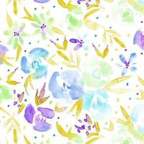 spring in wonderland - watercolor flowers in mustard and blue