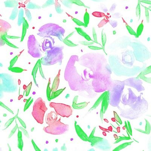 Lilac spring in wonderland - watercolor roses 282