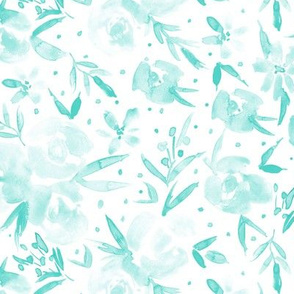 Aqua spring in wonderland - watercolor flowers for modern home decor, bedding, nursery