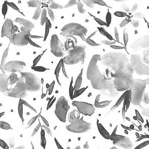 Noir spring in wonderland - grey watercolor flowers p282