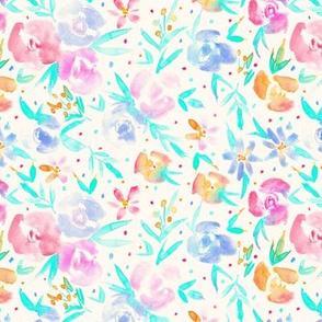 Tender spring in wonderland - watercolor flowers for modern nursery