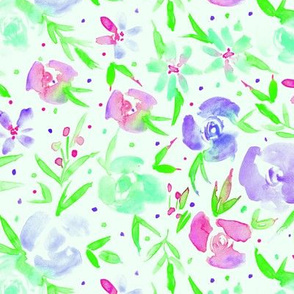 Green spring in wonderland - watercolor florals for modern home decor, bedding, nursery
