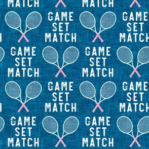 game set match - cross rackets - tennis - pink on blue - LAD20