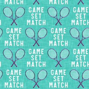 game set match - cross rackets - tennis - purple on teal  - LAD20