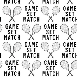 game set match - cross rackets - tennis - black on white -  LAD20