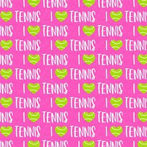 (small scale) I love tennis - tennis ball - hot pink - LAD20