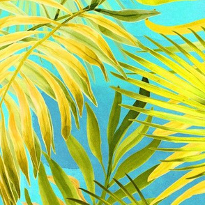 Palms On Watercolor Teal