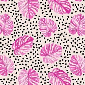 Tropical monstera leaves jungle garden boho summer nursery neutral fuchsia pink beige black spots