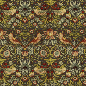 William Morris ~ Strawberry Thief ~ Autumn Linen ~ Medium