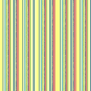 yellow, blue, red stripes