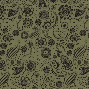 Field of Flowers Olive Green