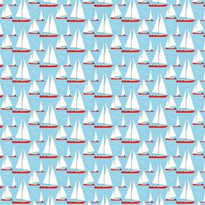 red boats at morning sailors swarming - small