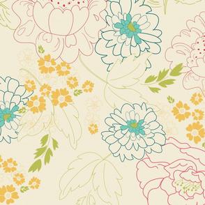 Playful Line Art Florals Multi Color TerriConradDesigns