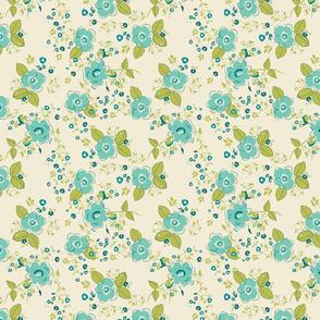 Ditsy Petite Floral Blue Green TerriConradDesigns