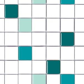 Teal and White Mosaic Tile