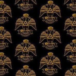 """Large 2"""" Scottish Rite NMJ 33 Black Gold"""