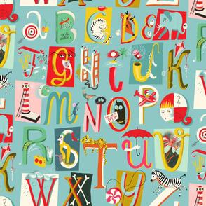 alphabet lettering chart // blue // large