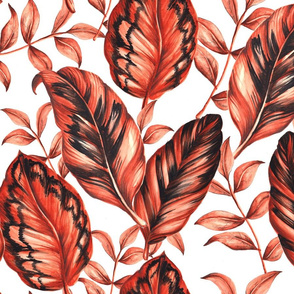 Red Tropical Leaves - Big Scale