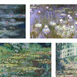 Claude Monet Flower Paintings Waterlilies Agapanthus Poppies Brick Wall Quilt