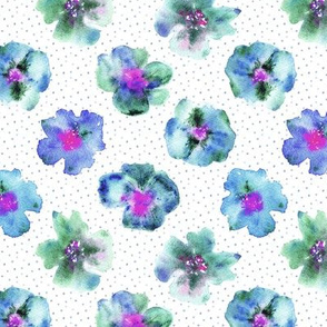 Pansies from grandmother's garden - watercolor flowers for modern home decor, bedding, nursery