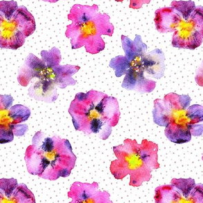 Pansies from grandmother's garden ★ watercolor violet flowers for modern home decor, bedding, nursery