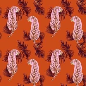 Paisley Tiger - orange and pink
