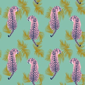 Paisley Tiger - Green & Pink - small