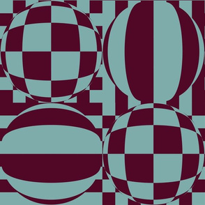 JP8 - Large - Mod Geometric Quatrefoil Cheater Quilt in  Burgundy and  Pastel Teal