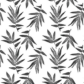 bamboo leaves  in black & white