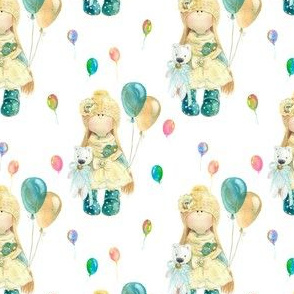MINI WATERCOLOR DOLL AND BALLOONS ON WHITE FLWRHT