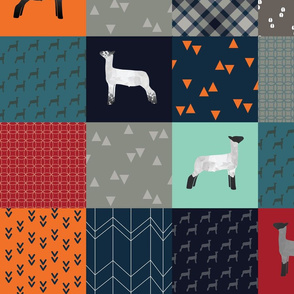 """Cheater Quilt - Lambs / Sheep - """"All Boy"""" - Large"""