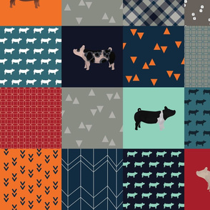 """Cheater Quilt - Pigs / Swine - """"All Boy"""" - Large"""