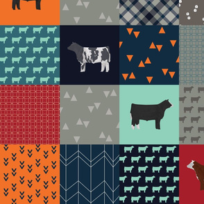 """Cheater Quilt - Steers / Cattle / Cow - """"All Boy"""" - Large"""