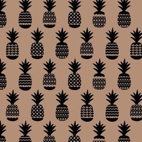 Ananas pineapple boho garden sweet neutral nursery theme black on latte beige brown
