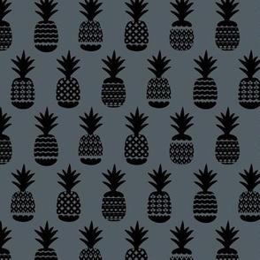 Ananas pineapple boho garden sweet neutral nursery theme black on charcoal blue night gray