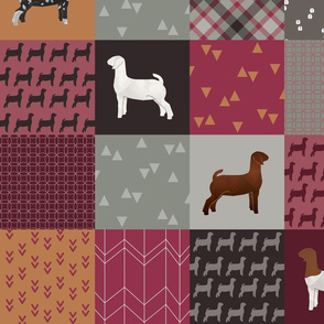 Cheater Quilt - Goats - Rosy - Large