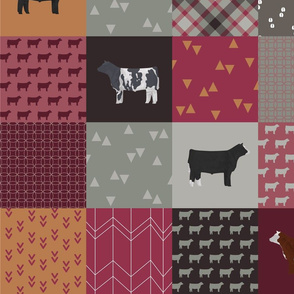 Cheater Quilt - Steers / Cattle - Rosy - Large