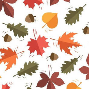 Autumn Leaves Pattern White Background