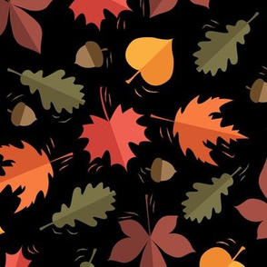 Autumn Leaves Pattern Black Background