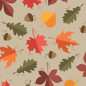 Autumn Leaves Pattern Beige Background