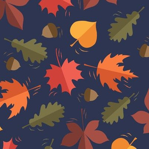 Autumn Leaves Pattern Deep Blue Background