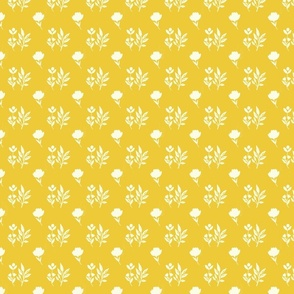 Playful Flowers Farmhouse Style Yellow and White TerriConradDesigns